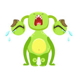 Funny Monster Crying Out Loud, Green Alien Emoji Cartoon Character Sticker Stock Image