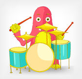 Funny Monster. Drummer. Cartoon Character Funny Monster  on Grey Gradient Background. Drummer. Vector EPS 10 Stock Images