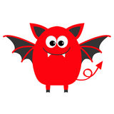 Funny monster with fang tooth and wings. Cute cartoon character. Red color. Baby collection. . Happy Halloween card. Flat Royalty Free Stock Image