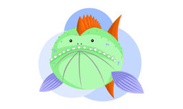 Funny monster fish. A cute green monster fish Stock Photography