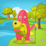 Funny Monster. Fisherman. Royalty Free Stock Photography