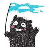 Funny Monster with Flag Greeting Stock Image