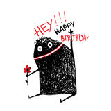 Funny Monster with Flower Happy Birthday Greeting Card or Invitation Stock Images