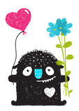 Funny Monster with Flowers and Heart Balloon Cartoon for Kids. Happy funny childish little monster congratulates. Vector drawing Royalty Free Stock Photography