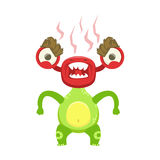 Funny Monster Fuming With Rage, Green Alien Emoji Cartoon Character Sticker Stock Photos