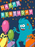 Funny monster with gifts and balloons. Happy Birthday. Illustration Stock Photos