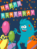 Funny monster with gifts and balloons. Happy Birthday. Vector. Illustration Stock Image