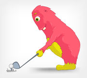 Funny Monster. Golf. Cartoon Character Funny Monster on Grey Gradient Background. Golf. Vector EPS 10 stock illustration