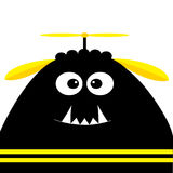 Funny monster head silhouette with fang tooth and propeller. Cute cartoon character. Black yellow color. Baby collection. Isolated. Happy Halloween card. White Stock Photos
