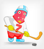 Funny Monster. Hockey. Royalty Free Stock Photos