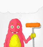 Funny Monster. Painter. Royalty Free Stock Photos