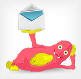 Funny Monster. Postman. Stock Images