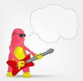 Funny Monster. Rock Star. Cartoon Character Funny Monster  on Grey Gradient Background. Rock Star. Vector EPS 10 Royalty Free Stock Photo