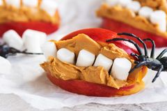 Funny monster`s mouth for Halloween party. Funny edible monster`s mouth for Halloween kids party. Selective focus royalty free stock images