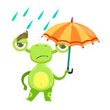 Funny Monster Sad Walking Under Rain With Umbrella, Green Alien Emoji Cartoon Character Sticker Stock Photography