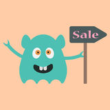 Funny monster with sale sign.  Stock Images