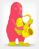 Funny Monster. Saxophonist. Royalty Free Stock Photos