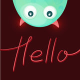 Funny monster saying Hello. Stock Photo