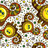Funny monster seamless pattern. Vector doodle on a Royalty Free Stock Photo