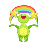 Funny Monster Seeing Stars And Rainbow , Green Alien Emoji Cartoon Character Sticker Stock Images