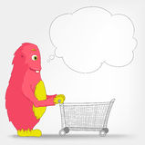 Funny Monster. Shopping. Royalty Free Stock Photo