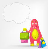 Funny Monster. Shopping. Royalty Free Stock Photography