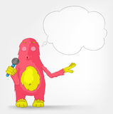 Funny Monster. Singing. Stock Image