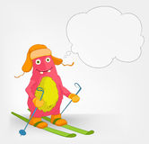 Funny Monster. Skiing. Stock Photos