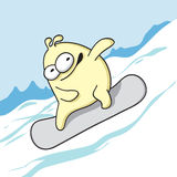 Funny monster snowboarder rides. Stock Photos