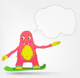 Funny Monster. Snowboarding. Stock Images