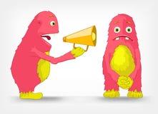 Funny Monster. Speaker. Cartoon Character Funny Monster  on Grey Gradient Background. Speaker. Vector EPS 10 Stock Photo