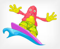 Funny Monster. Surfing. Royalty Free Stock Images