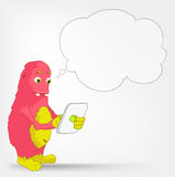 Funny Monster. Tablet User. Royalty Free Stock Images