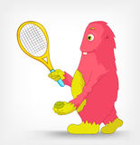 Funny Monster. Tennis. Royalty Free Stock Image