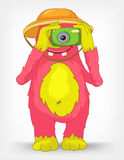 Funny Monster. Tourist Photographer. Cartoon Character Funny Monster on Grey Gradient Background. Tourist Photographer. Vector EPS 10 royalty free illustration