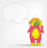 Funny Monster. Tourist Photographer. Cartoon Character Funny Monster Isolated on Grey Gradient Background. Tourist Photographer. Vector EPS 10 royalty free illustration