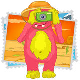 Funny Monster. Tourist Photographer. Cartoon Character Funny Monster Isolated on White Background. Tourist Photographer. Vector EPS 10 royalty free illustration