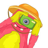 Funny Monster. Tourist Photographer. Cartoon Character Funny Monster Isolated on White Background. Tourist Photographer. Vector EPS 10 stock illustration