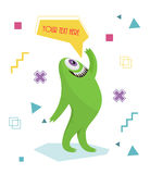 Funny monster waving his hand. Geometric colorful background. Cartoon character .Dialogue . Stock Photography