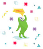 Funny monster waving his hand. Geometric colorful background. Cartoon character .Dialogue . Stock Images
