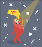 Funny monster waving his hand. Geometric colorful background. Cartoon character .Dialogue . Stock Image