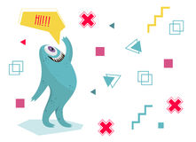 Funny monster waving his hand. Geometric colorful background. Cartoon character .Dialogue . Royalty Free Stock Photos
