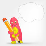 Funny Monster. Writer. stock illustration