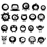 Funny monsters. Collection of cartoon funny vector monsters silhouettes Stock Image