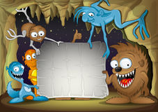 Funny monsters. Vector background for your text. Funny monsters Royalty Free Stock Photos