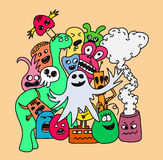 Funny monsters card. Funny cartoon monsters card in bright colours Royalty Free Stock Photo
