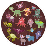 Funny monsters card design. Funny monsters set Big collection on  dark background in the circle. Vector. Illustration Stock Photography