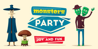 Funny monsters. Cartoon vector illustration. Stock Image