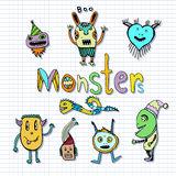 Funny monsters characters. Doodle set. Vector handdrawn Illustration. Coloring page. Stock Image