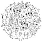 Funny monsters circle shape pattern for coloring book. Vector illustration stock illustration